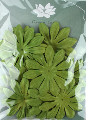 7cm Petals, Green. Pack of 10