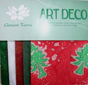 20 A5 Sheets Art Deco Papers Xmas Red
