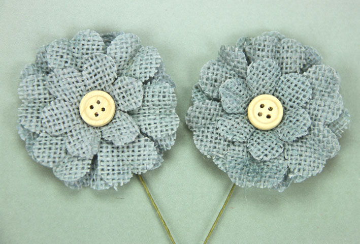 5cm Burlap Flower with Button 12 pcs Blue