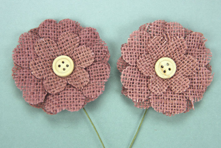 5cm Burlap Flower with Button 12 pcs Rose