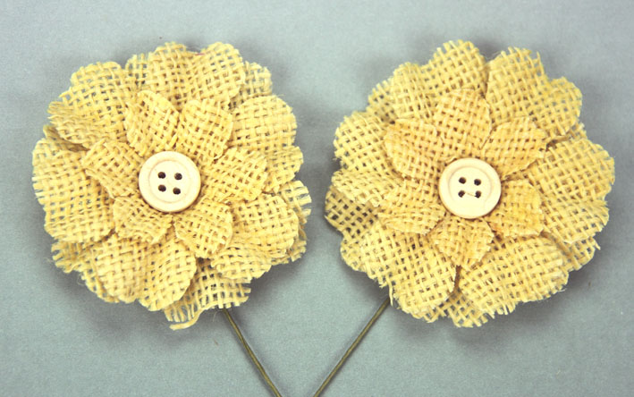 5cm Burlap Flower with Button 12 pcs Yellow
