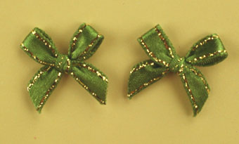 Pack of 100 2cm Bows. Green and Gold.