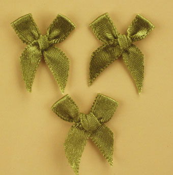 Pack of 100 2cm Bows. Olive