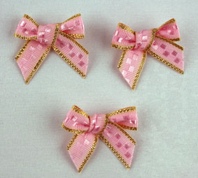 Pack of 100 2.5 cm Bows. Pink and Gold.