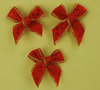 Pack of 100 2.5 cm Bows. Red and Gold.