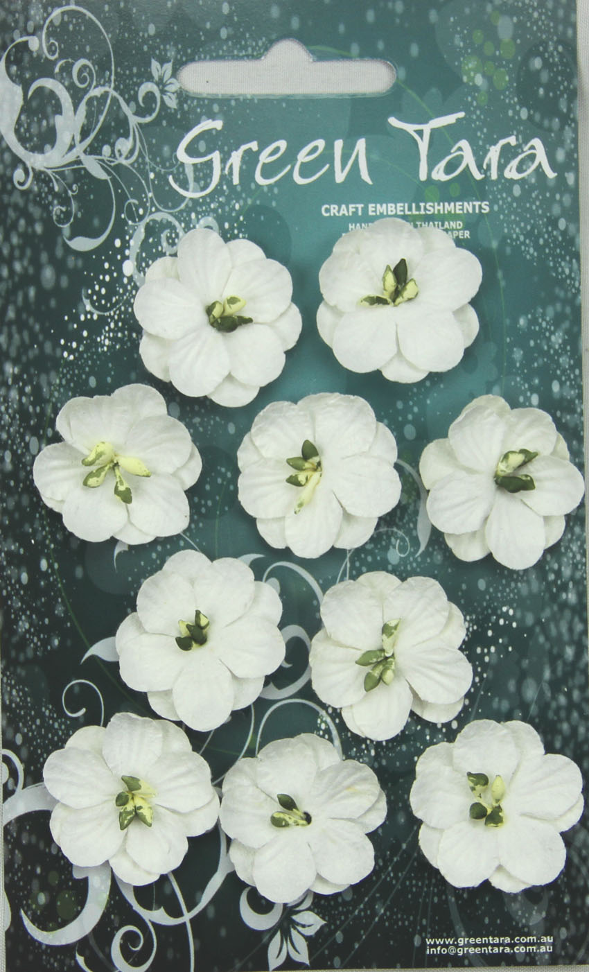 Pack 10 Cherry Blossoms, White 28mm
