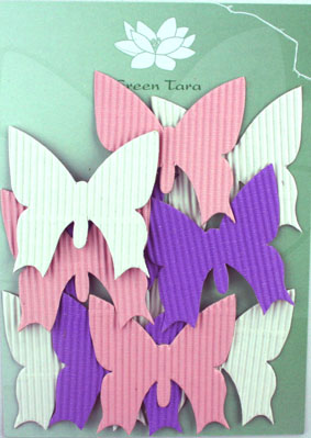 10 Diecuts Butterflies Pink/White/Purple Corrugated Card