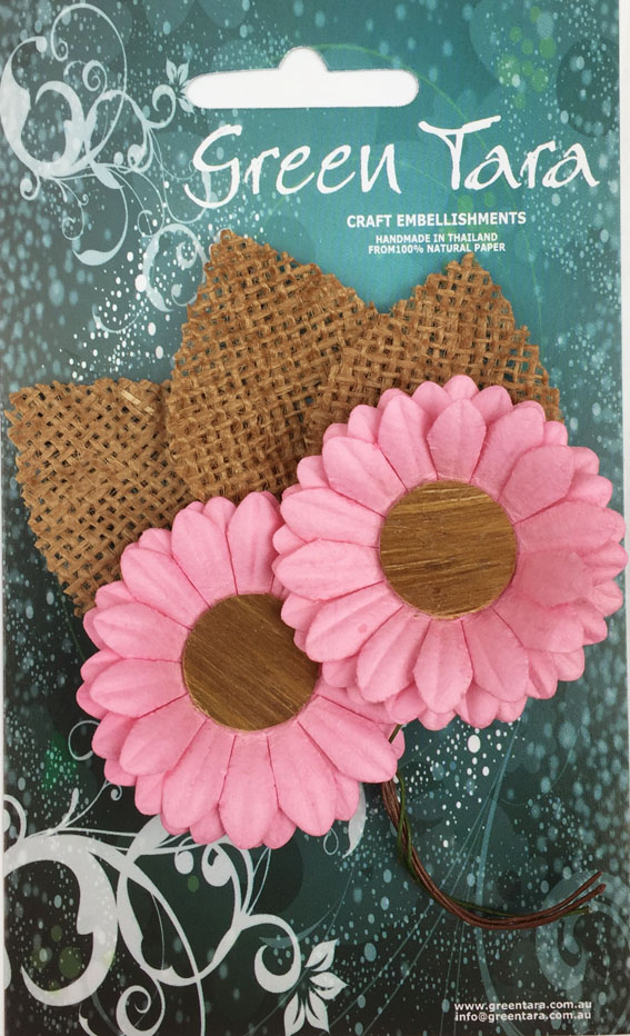 5cm Daisies - Pack of 2 with Burlap Leaves, Pink