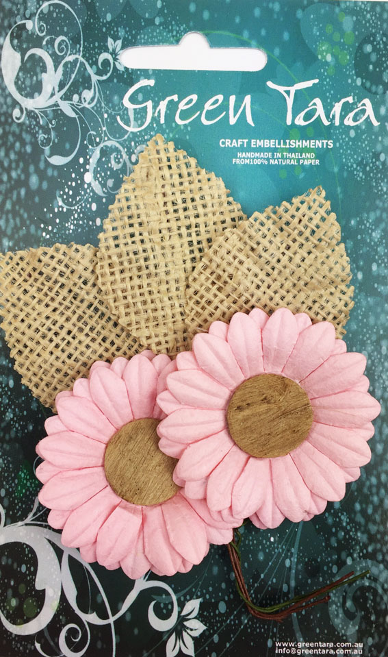 5cm Daisies - Pack of 2 with Burlap Leaves, Pale Pink