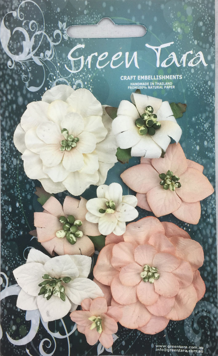 Fantasy Blooms - Pack of 8 Co-ordinated Flowers, ANTIQUE PINK