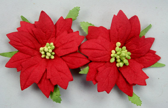 100 Large Poinsettias 7cm Red Green Centres
