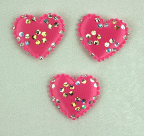 100 Satin Hearts, Pink/Silver 2 cm