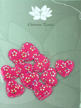Pack of 10 Satin Hearts, Pink/Silver 2 cm
