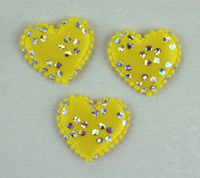100 Satin Hearts, Yellow/Silver 2 cm