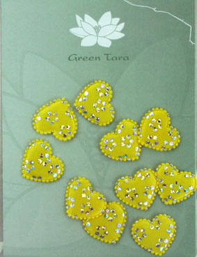 Pack of 10 Satin Hearts, Yellow/Silver 2 cm
