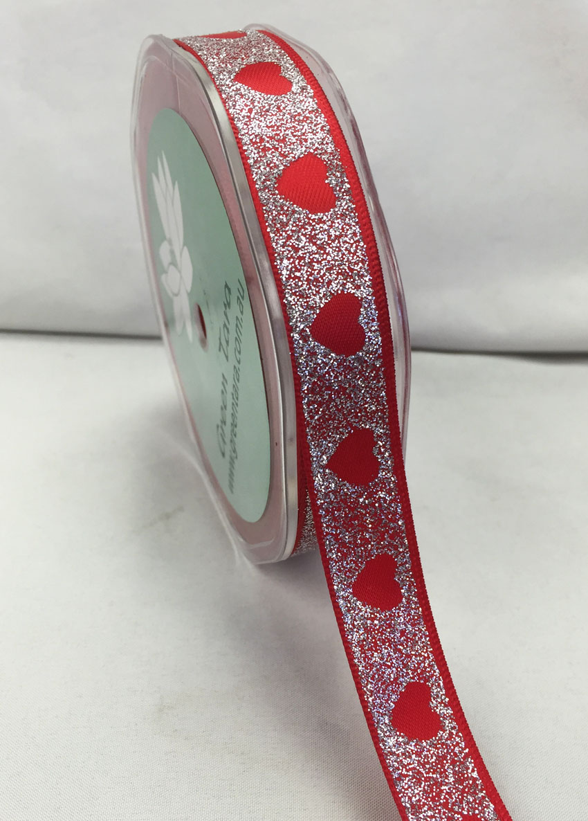 15mm Satin Glitter Hearts 20m Red/Silver