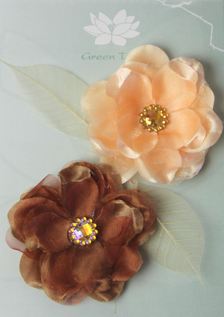 Fabric Flowers Wild Rose Brown/Apricot Pack
