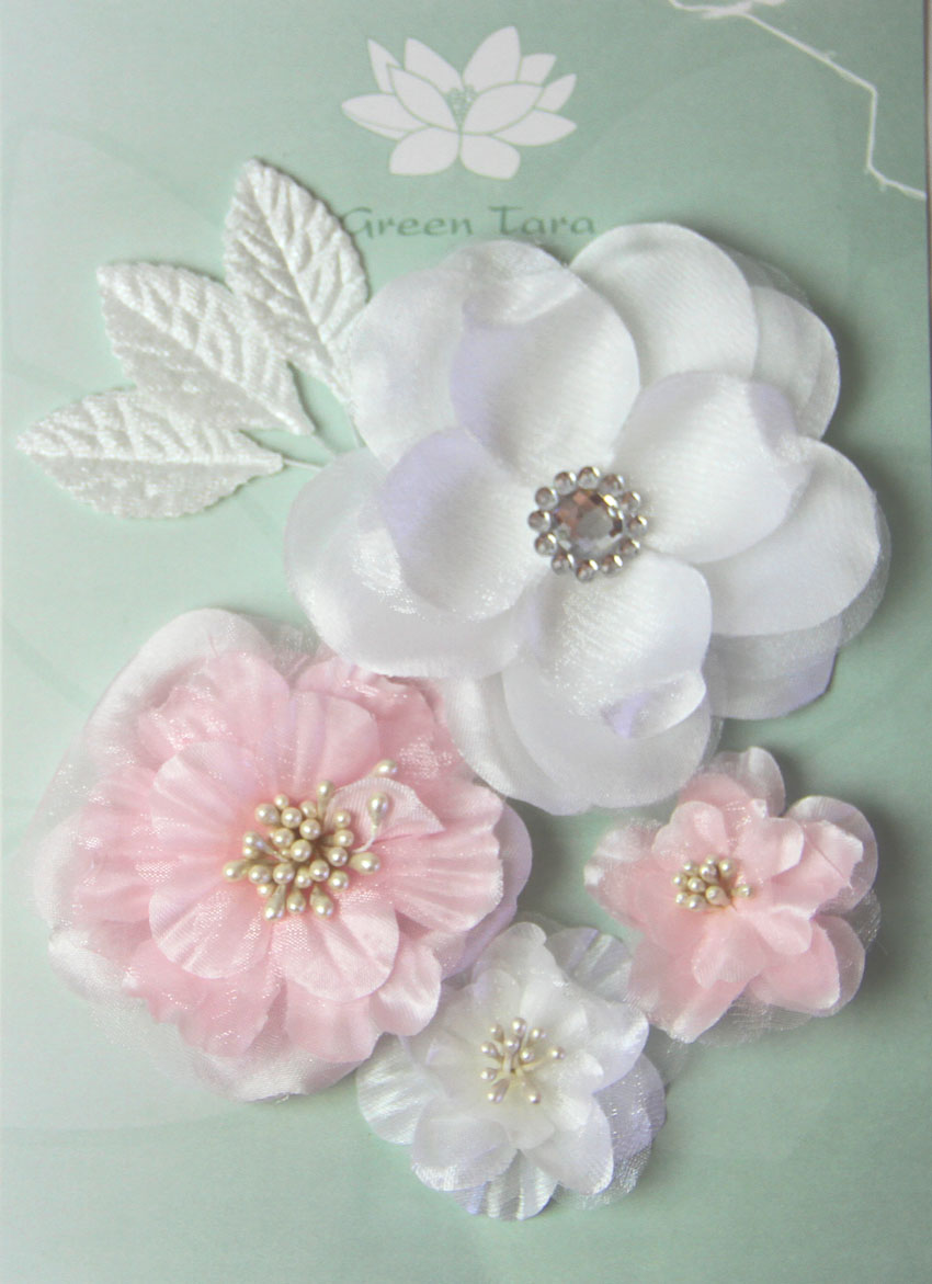 Fabric Flowers Palest Pink pack