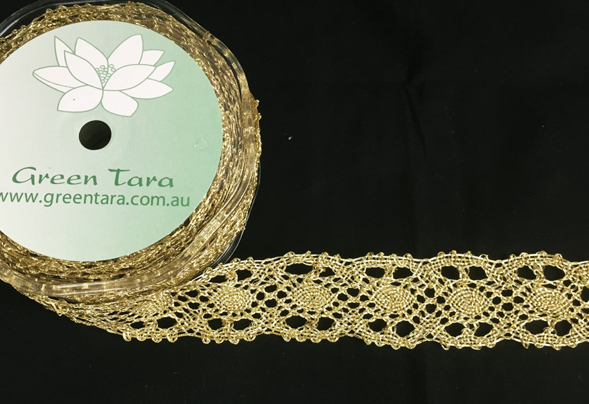 33mm Metallic Lace Ribbon, 10m Gold