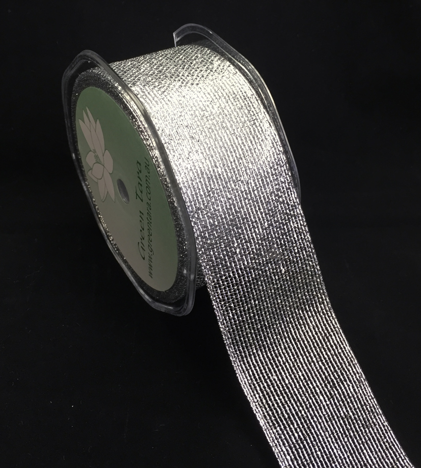 38mm Metallic Mesh Ribbon 10m Silver