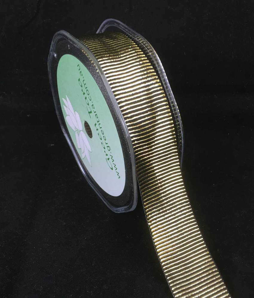 25mm Metallic Vertical Stripe 10m Black/Gold