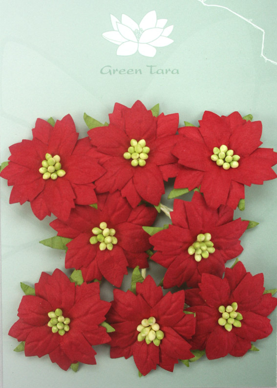 8 Medium Red Poinsettias Green Centres