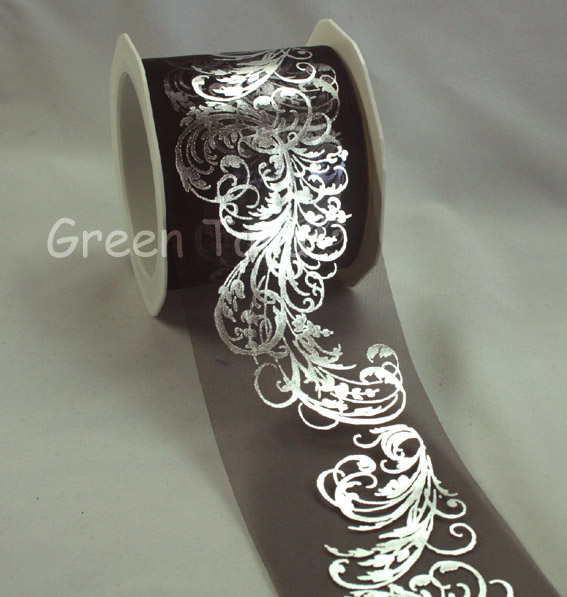 70mm Organza Metallic Flourish Black/Silver 10m