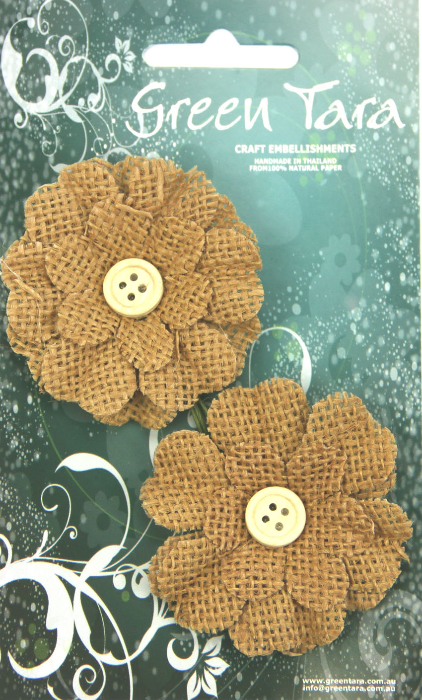 5cm Burlap Flower with Button, Brown. Retail Pack of 2.