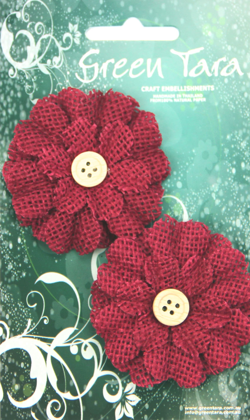 5cm Burlap Flower with Button, Red. Retail Pack of 2.