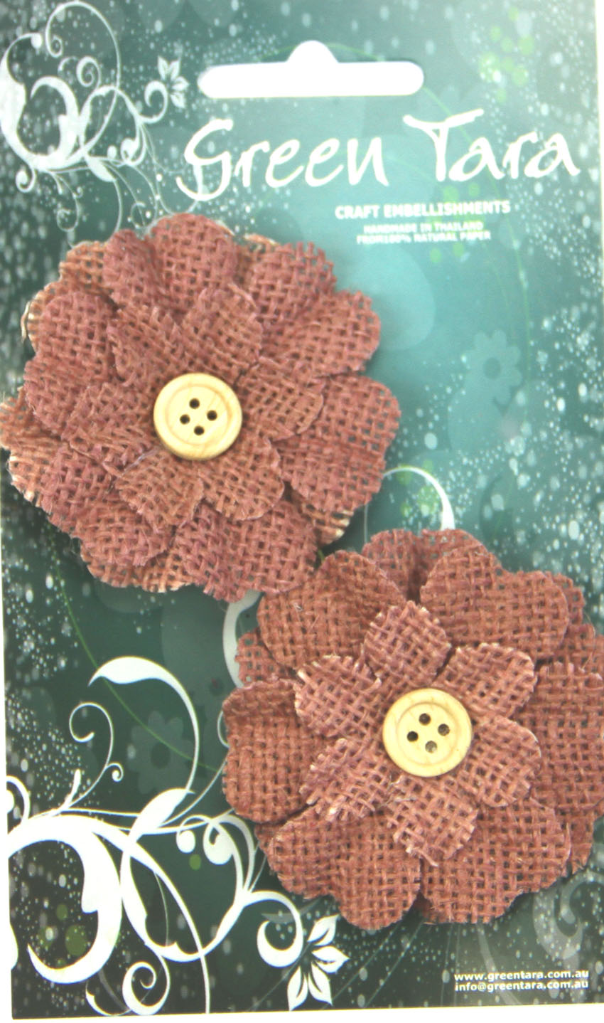 5cm Burlap Flower with Button, Rose. Retail Pack of 2.