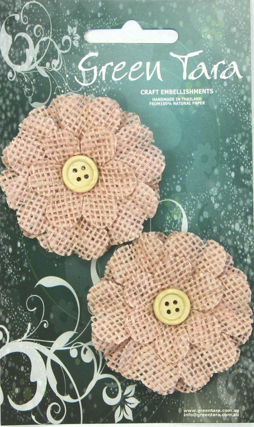 5cm Burlap Flower with Button, Pale Pink. Retail Pack of 2.