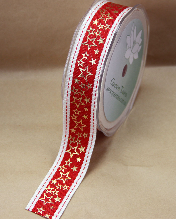 25mm Woven Metallic Star Ribbon 10 Metres, Red/Gold