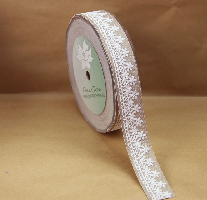 25mm Denim and Lace Ribbon, 20 Metres, Stone