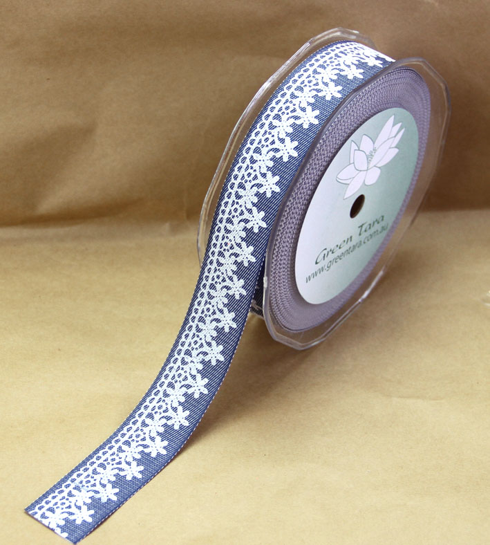 25mm Denim and Lace Ribbon, 20 Metres, Blue Denim