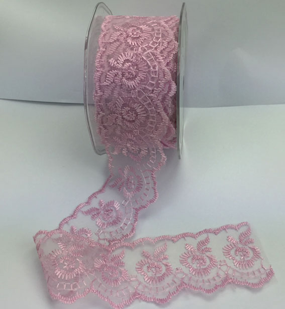 38mm Scalloped Embroidered Lace 10yd Dusky Pink