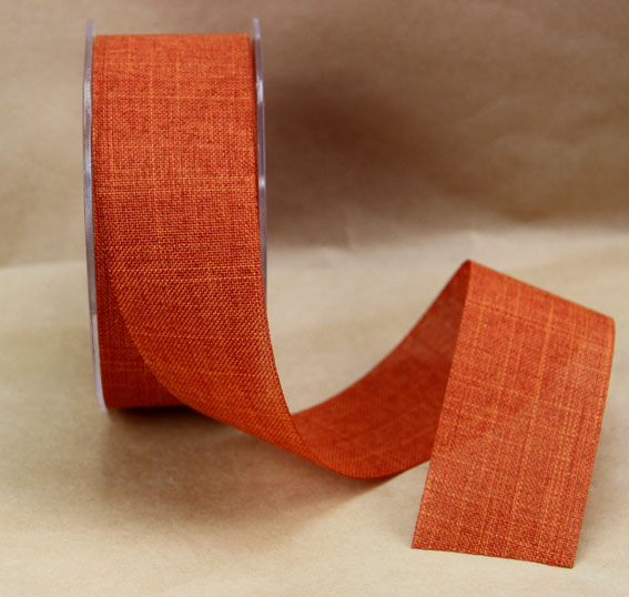 38mm Linen Look Ribbon, 20 Metres Rust