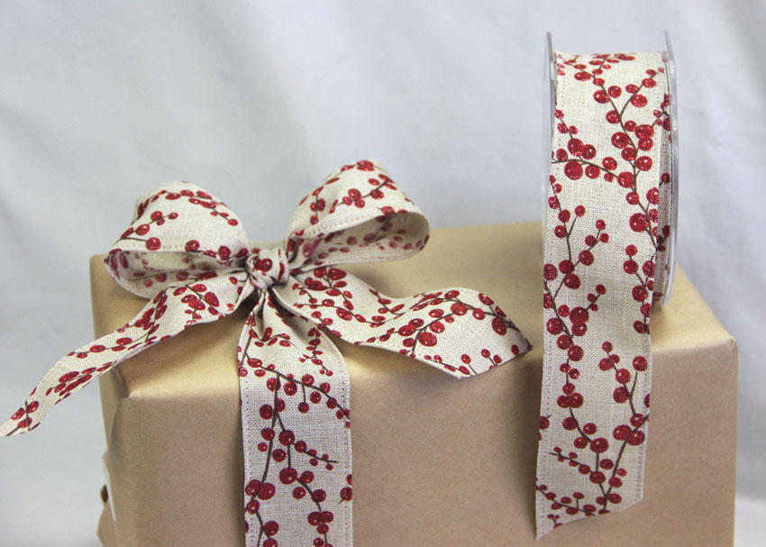 38mm Wheat Linen Look Ribbon, Wire Edge, 10 Metres - Red Glitter Berries
