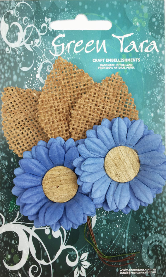 5cm Daisies - Pack of 2 with Burlap Leaves, Blue