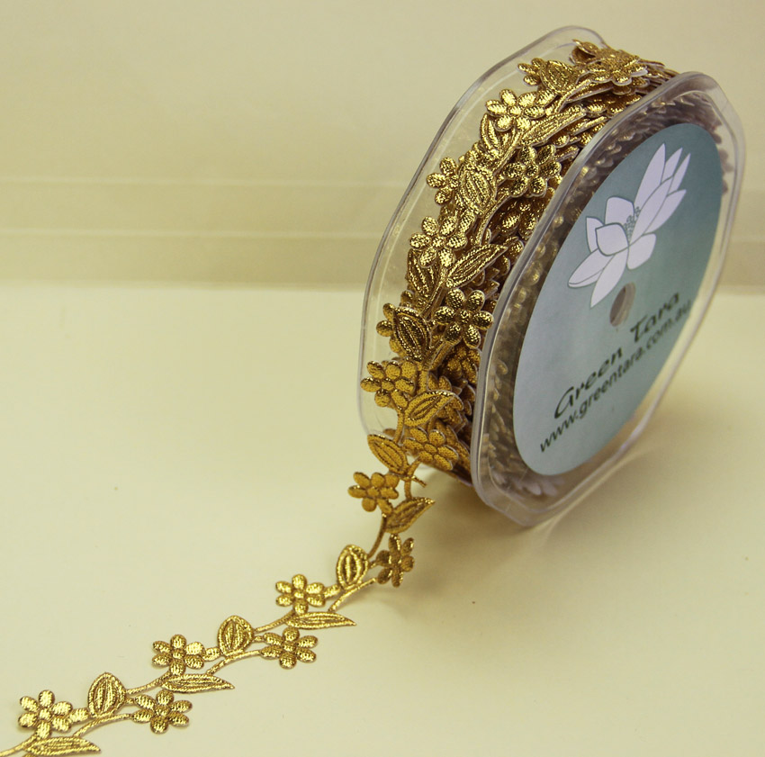 25mm Self Adhesive Flower Garland 10m Gold
