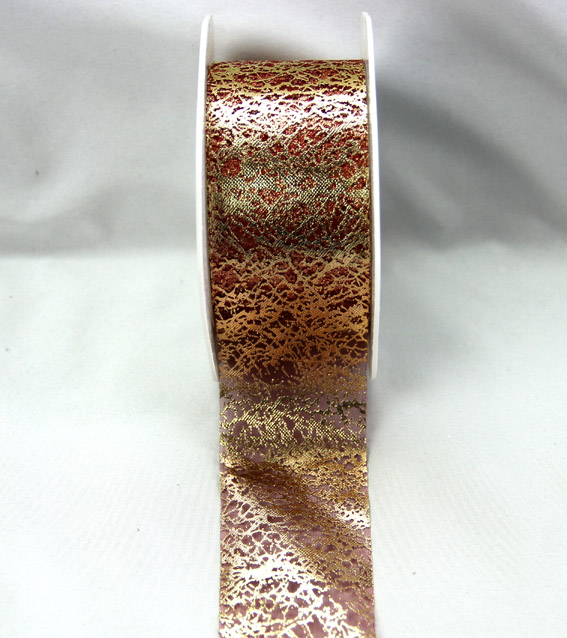 38mm Metallic Organza 20m, Gold/Dusky Pink