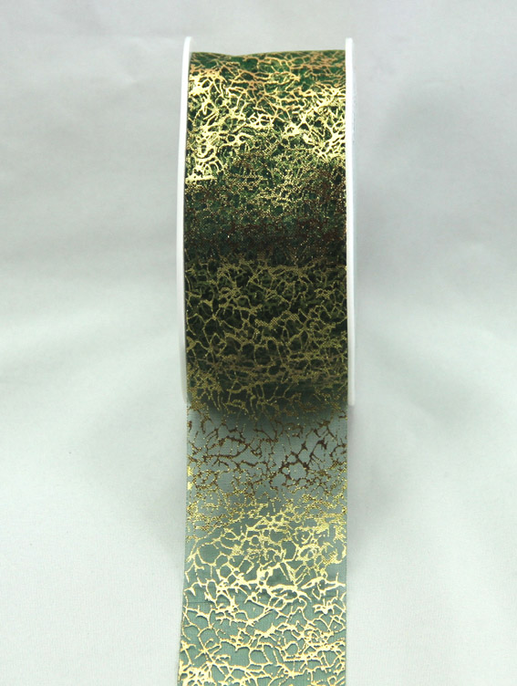 38mm Metallic Organza 20m, Gold/Green