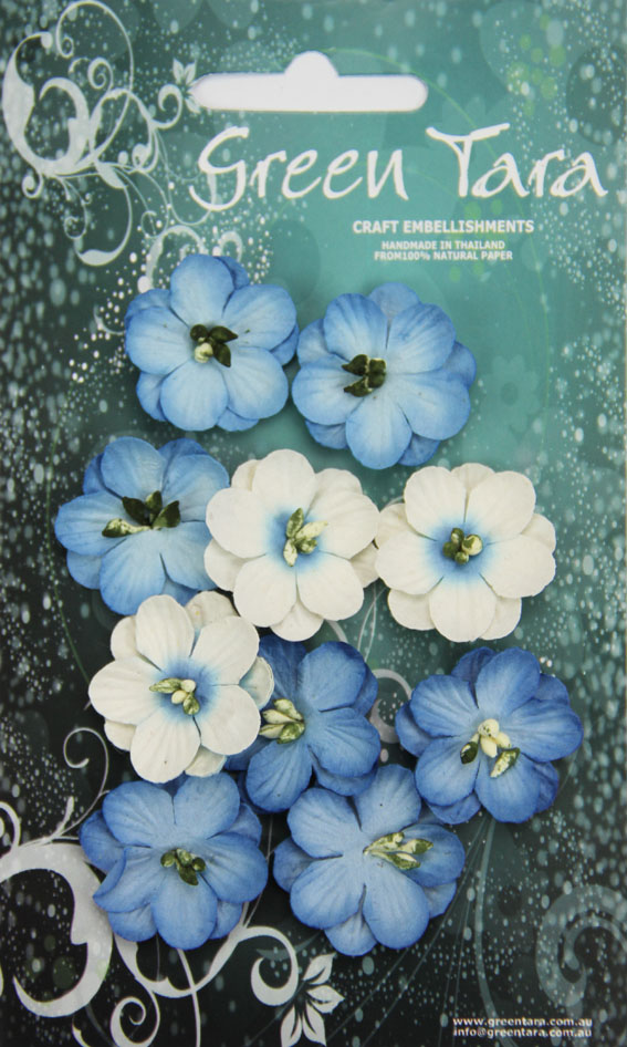 Pack 10 Cherry Blossoms, Bright Blue 28mm