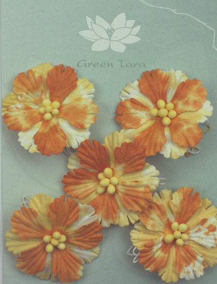 Pack of 5 Hibiscus Flowers, Ochre 2