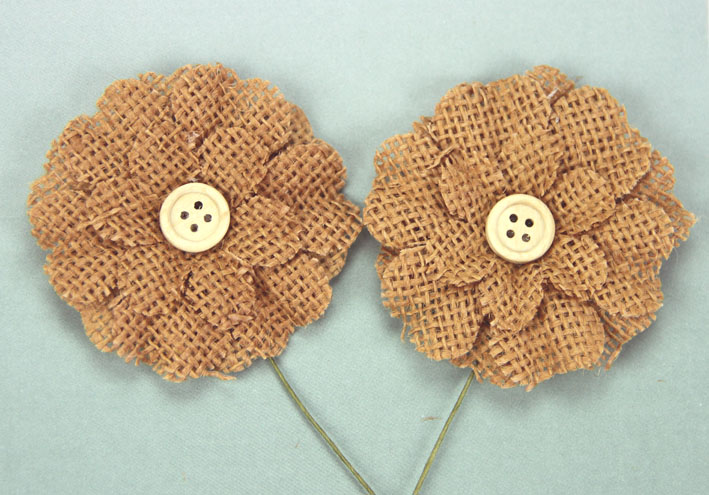 5cm Burlap Flower with Button 12 pcs Brown