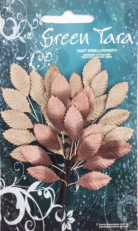 Paper Leaf Sprays 3 Sprigs of 13 Leaves 2cm Brown