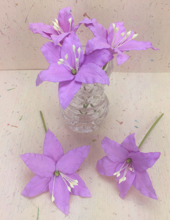 25 Wired Lilies 6.5cm, LAVENDER