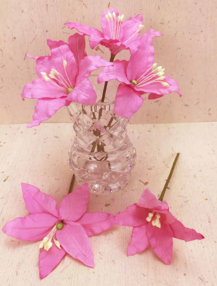 25 Wired Lilies 6.5cm, PINK