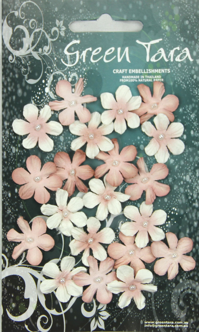 Pack 20 Mini Flowers, Antique Pink Tones 22mm