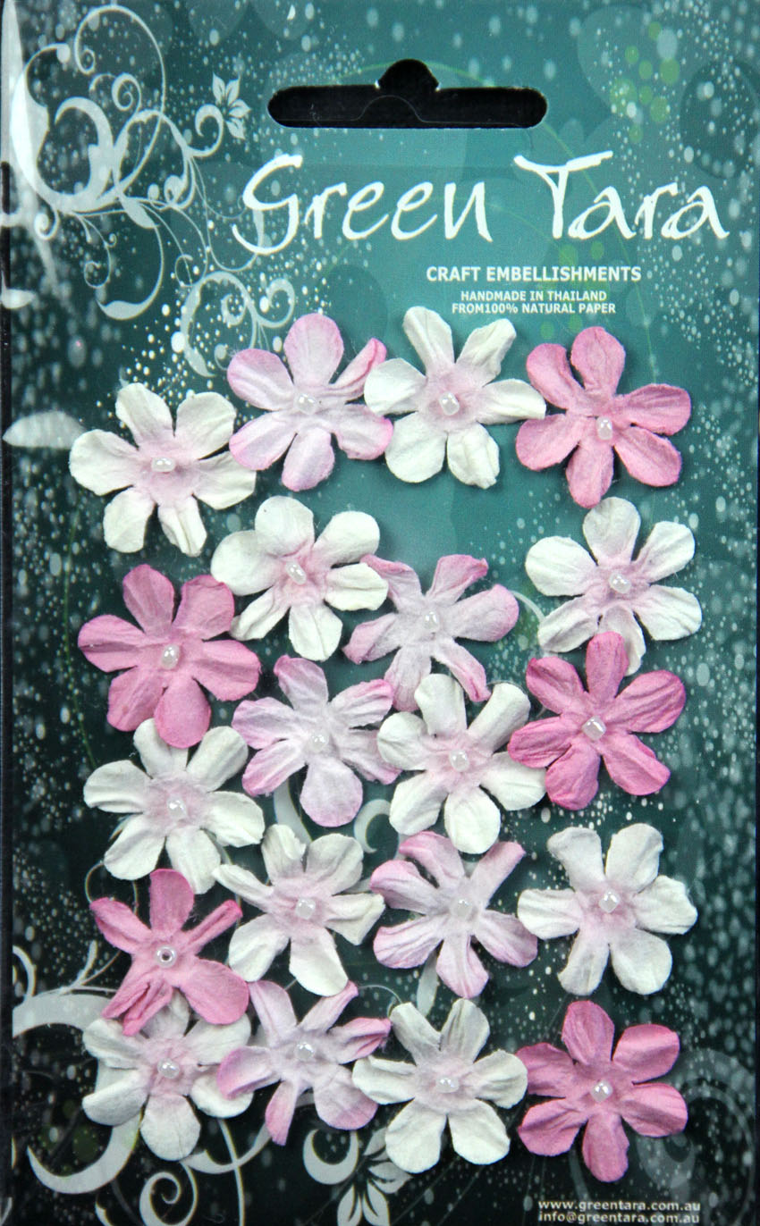 Pack 20 Mini Flowers, Rose Tones 22mm
