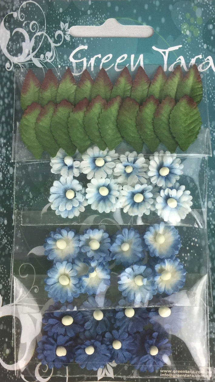 Pack of 24 Mimosas (1.5cm) & 20 Leaves (2cm), BRIGHT BLUE